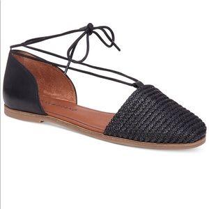 NWOT🍀Lucky Brand Nanelia Lace up Black Flats